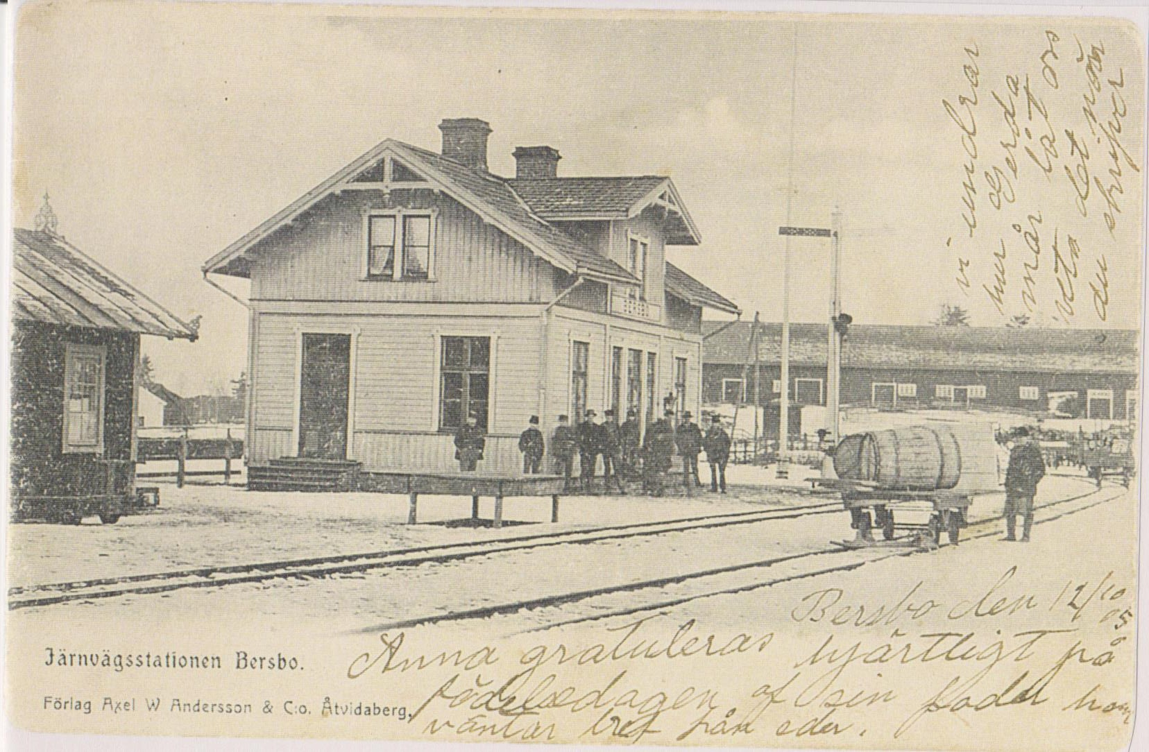 Trainstation-Bersbo-CG-Löfgrens-postcard-to-Anna